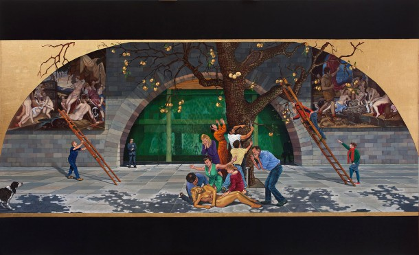 Eolo Paul Bottaro 'Pactolus' (2011) oil, egg tempera, gold leaf on linen, 212 x 347 cm
