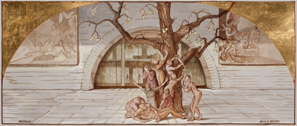 Eolo Paul Bottaro, Study for Pactolus, 2011, ink and gold leaf on paper, 29 x 69 cm