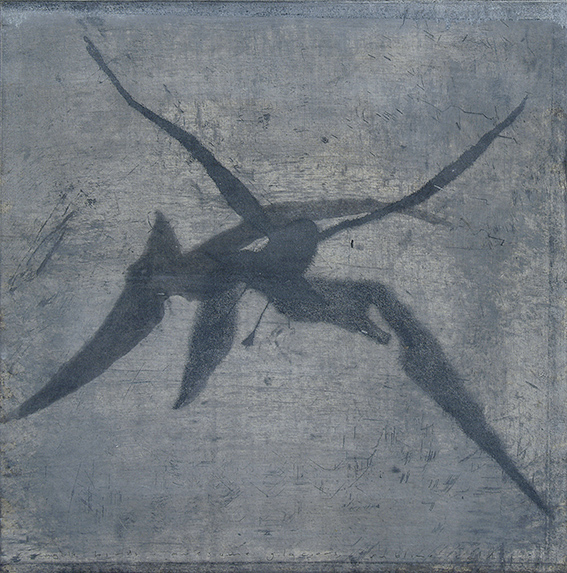 Martin King birds and ice no. 2 (2007) etching with watercolour and encaustic, unique state, 45 x 45 cm