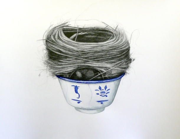 Karen Gray, Birds Nest Soup (2008) charcoal and watercolour on paper.