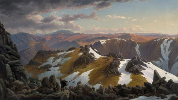 Eugene Von Guérard, North-east view from the northern top of Mount Kosciusko (1863), oil on canvas, 66.5 x 116.8 cm. National Gallery of Australia.