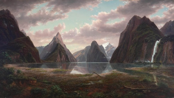 Eugene von Guérard, Milford Sound, New Zealand, (1877-1879) oil on canvas, 99.2 x 176.0cm, Art Gallery of New South Wales
