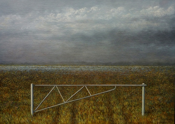 Adam Nudelman, Gate at Lake Augusta (2012), oil on panel, 25.5 x 35.5 cm