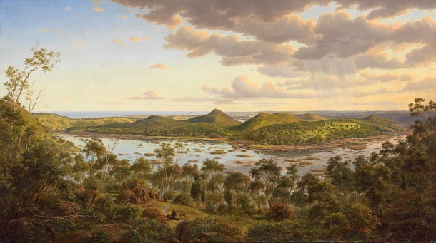 Eugene von Guérard, View of Tower Hill (1855), oil on canvas, 68.6 x 122.0cm, Warrnambool Art Gallery