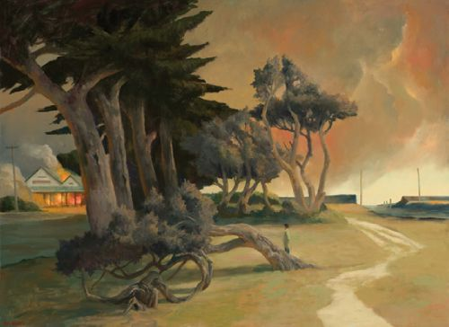 Rick Amor, Burning Cafe, 2011, oil on linen, 74 x 100 cm. Courtesy the Artist and Niagara Galleries, Melbourne.