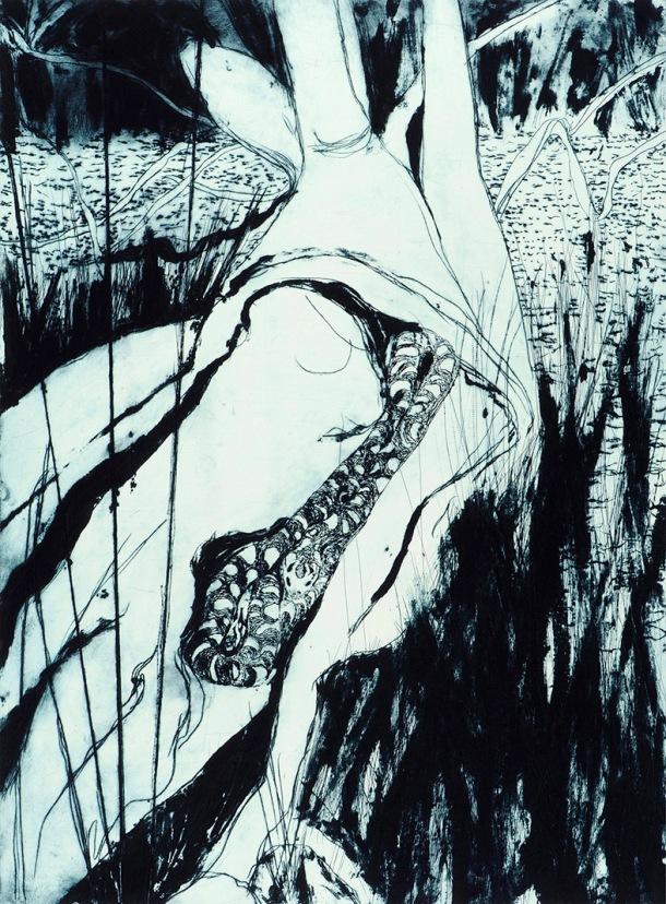 Bronwyn Rees, Reedy Lagoon, 2013, etching.