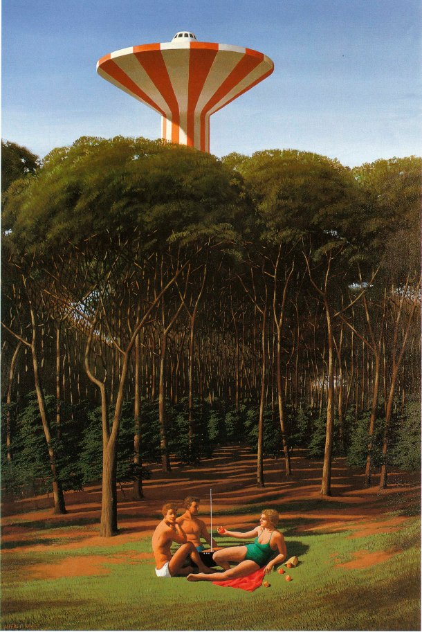 Jeffrey Smart, The Picnic, 1980, oil and acrylic on canvas, 69.5 x 70 cm. Published in Pearce, 2005, p. 166