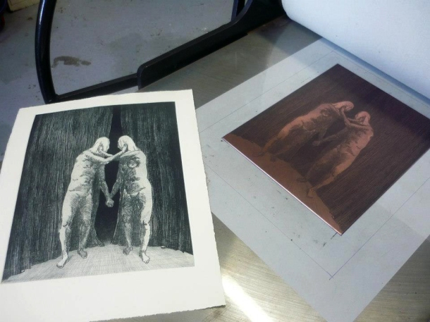 Phil Kreveld's etching at Trinacria Press, Northcote