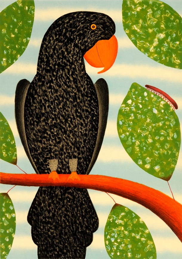 Dean Bowen, Black Parrot Watching Millepede (2011)  Lithograph, 68 x 48 cm Edition 25. Printed by Peter Lancaster at Lancaster Press