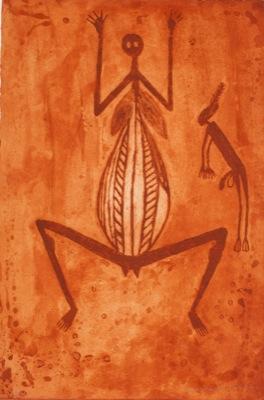 Gershom Garlngarr, Wife of Namarrkon (2011) etching edition 20, 56 x 38 cm