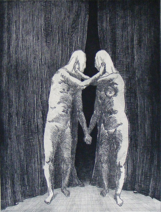 Phil Kreveld, The Lovers 3 (2012) etching, edition of 10, 29.5 x 22.5cm. Printed by Eliza Turnbull and Nicole Macdonald at Trinacria Press.