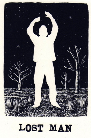 DAVID FRAZER Lost Man, Wood engraving - with letterpress, Image Size: 11.3 x 7.5cm, Print Year: 2012, Edition Length: 30