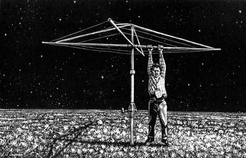 DAVID FRAZER Another night on earth, Wood Engraving, Image Size: 13 x 20 cm, Print Year: 2005, Edition Length: 30