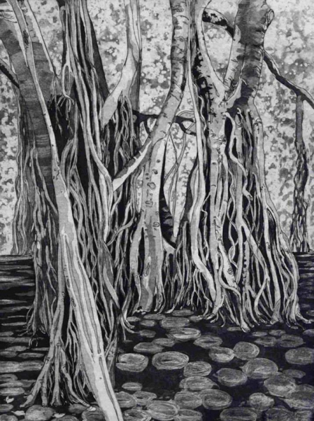 Rachael Ness Creeping Shade, 2013, etching, edition of 20, 60 x 45 cm