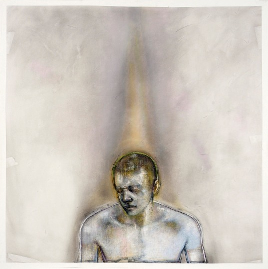 Godwin Bradbeer Breathing Man Version #2 2009, chinagraph, pastel dust, silver oxide on paper 141 × 141 cm. Image courtesy the artist and James Makin Gallery, Melbourne.
