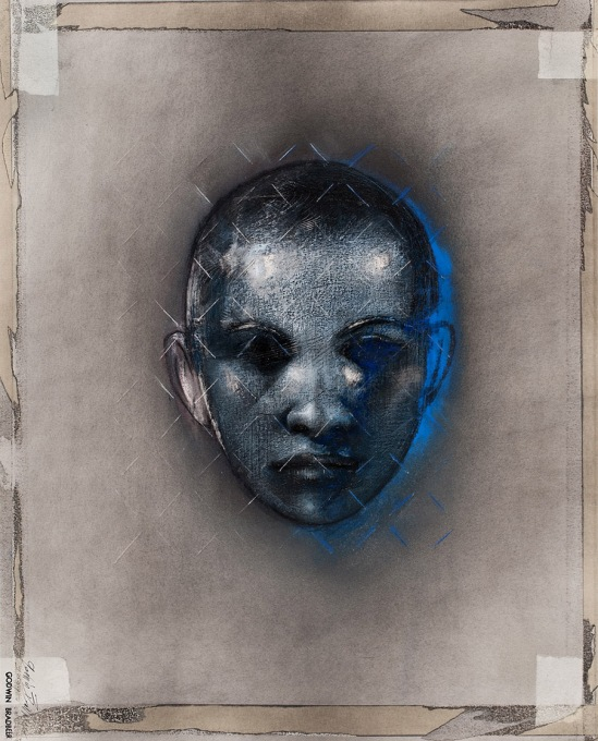 Godwin Bradbeer, Cameo Matrix Blue 2010, chinagraph, pastel dust, silver oxide on paper, 70 x 50 cm