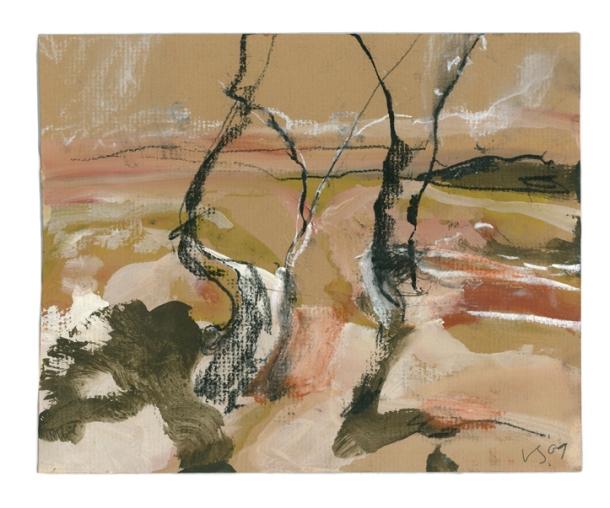 Luke Sciberras, Wilcannia Study I, 2010, gouache and pastel, 18 x 22.5cm