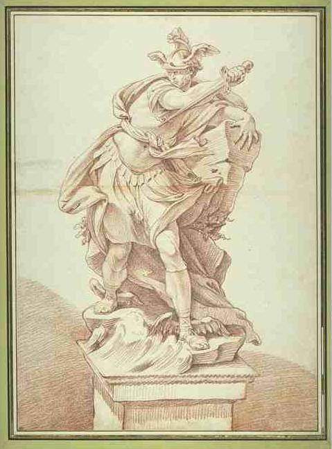 René-Michel Slodtz, Etude pour une statue de Persée, drawing with red chalk, 49.6 × 36.2 cm. Inv. 32855 recto, Musée du Louvre, ancienne collection Saint-Morys.
