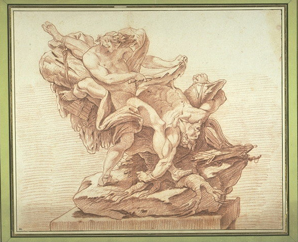 Attributed to René- Michel Slodtz, Apollon écorchant Marsyas, drawing with red chalk, 38.5 × 46.3 cm. Inv. 32857 recto, Musée du Louvre, ancienne collection Saint-Morys.