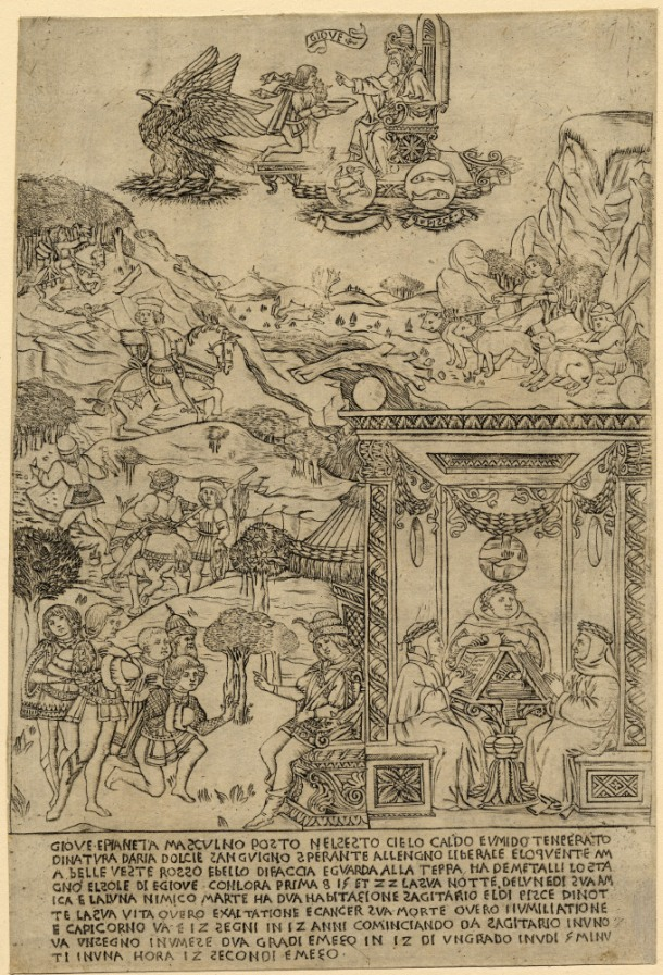 Attributed to Baccio Baldini, Jupiter (c. 1464), engraving, 320 x 219 mm. Registration Number 1845,0825.469 Bibliography: TIB 24.2403.002 ; Hind A.III.2a.I © The Trustees of the British Museum