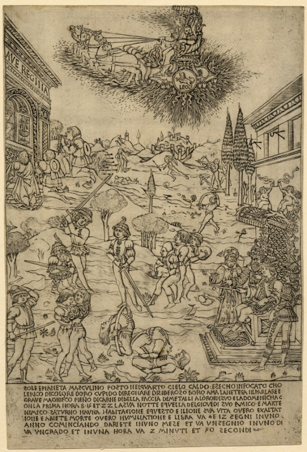 Attributed to Baccio Baldini, Sun (c. 1464), engraving, 323 x 216 mm. Registration Number 1845.0825.470 Bibliography: TIB 24.2403.004 ; Hind A.III.4a.I © The Trustees of the British Museum