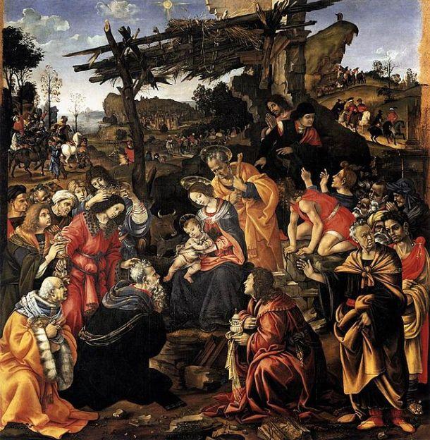 Filippino Lippi, Adoration of the Magi (1496) oil on panel, 258 x 243 cm. Uffizi Gallery, Florence.