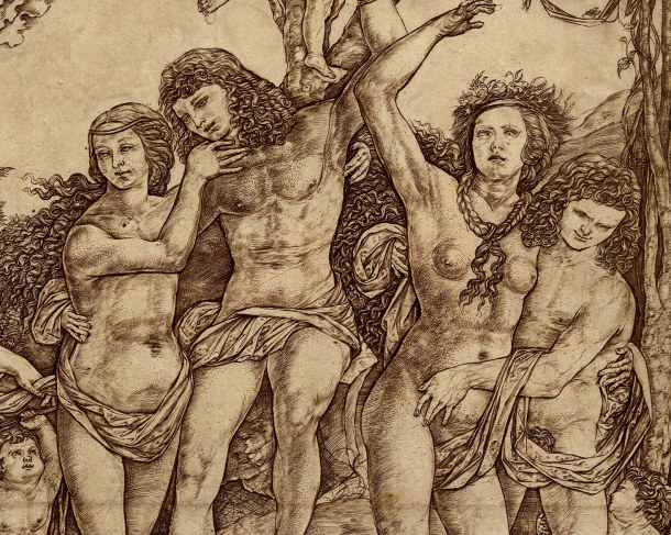 Cristofano Robetta, Allegory of Carnal Love (after 1535) Detail, engraving, 302 x 287 mm. Museum Number 1895.0915,85. Bibliography: Hind D.II.29 ; Bartsch XIII.406.25 ; TIB 25.2521.043. To view this print on the British Museum Collection Online click here.  © The Trustees of the British Museum