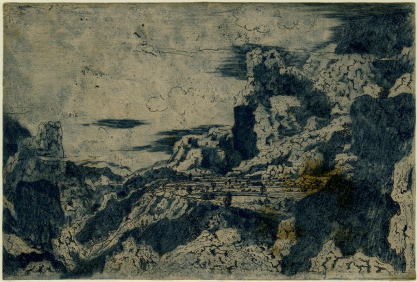 Hercules Segers, Rocky Mountains with a Plateau (HB 10.I.b), etching and drypoint with surface tone, printed in blue ink, 130 x 197mm. Museum Number S.5520 (from the collection of John Sheepshanks, acquired in 1836). To view this print on the British Museum Collection Online click here. © The Trustees of the British Museum