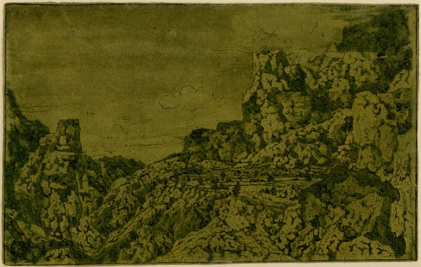 Hercules Segers, Rocky Mountains with a Plateau (HB 10.I.b), etching, sugar-lift and drypoint with surface tone, printed in dark-blue ink on ochre tinted paper, brushed with olive green, 135 x 208mm. Museum Number S.5521 (from the collection of John Sheepshanks, acquired in 1836). To view this print on the British Museum Collection Online click here. © The Trustees of the British Museum