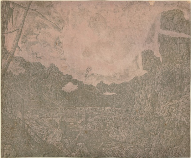 Hercules Segers, River Valley with a Waterfall (HB 22.I.c), etching and sugar-lift, printed in grey-green ink, brushed with pink. 155 x 187mm. Museum Number S.5518 (from the collection of John Sheepshanks, acquired in 1836). To view this print on the British Museum Collection Online click here. © The Trustees of the British Museum