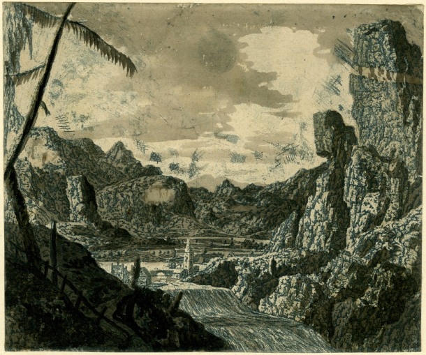 Hercules Segers, River Valley with a Waterfall (HB 22.II.g), etching and sugar-lift, printed in blue ink with grey and brown watercolour. 155 x 185 mm. Museum Number S.5519 (from the collection of John Sheepshanks, acquired in 1836). To view this print on the British Museum Collection Online click here. © The Trustees of the British Museum