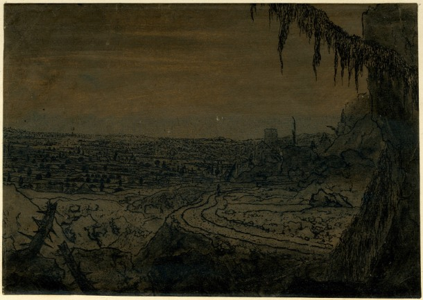 Hercules Segers, Distant View with a Mossy Tree Branch (HB 27.I.I), etching and sugar lift, printed in dark-grey ink on ochre-tinted paper, brushed with blue, touched with brown and blue watercolour, 125 x 180mm. Museum Number S.5528 (from the collection of John Sheepshanks, acquired in 1836). To view this print on the British Museum Collection Online click here. © The Trustees of the British Museum