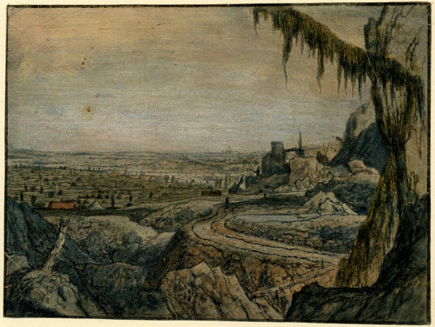 Hercules Segers, Distant View with a Mossy Tree Branch (HB 27.II.r), etching, sugar lift and drypoint, printed in dark blue ink in ochre-tinted paper, brushed with white, blue and pink, touched with red and green watercolour, 136 x 188mm. Museum Number S.5529 (from the collection of John Sheepshanks, acquired in 1836). To view this print on the British Museum Collection Online click here. © The Trustees of the British Museum