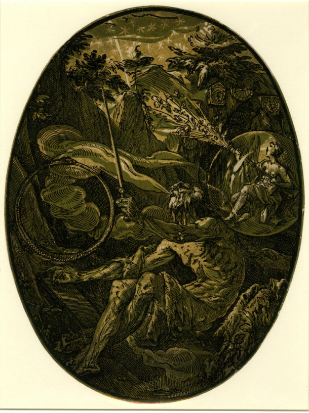 Hendrick Goltzius The Deities, The Magician; Demogorgon in the Cave of Eternity (c. 1588) chiaroscuro woodcut, 350 x 265mm, Museum number: W,5.45 Bibliography: New Hollstein (Dutch & Flemish) 294b (Hendrick Goltzius); Hirschmann 374; Hollstein 374 (The Magician); Strauss 418; Bartsch III.73.238 To view this print on the British Museum Collection Online click here © The Trustees of the British Museum