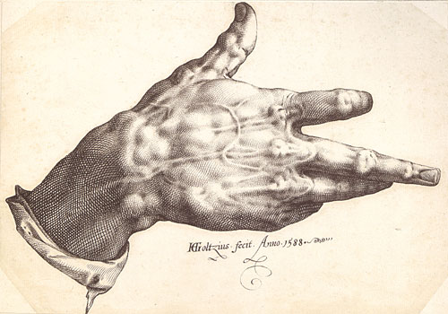 Hendrik Goltzius, Goltzius's Right Hand, 1588, pen and brown ink, 9 x 12 5/8 in. (23 x 32.2 cm). Teylers Museum, Haarlem