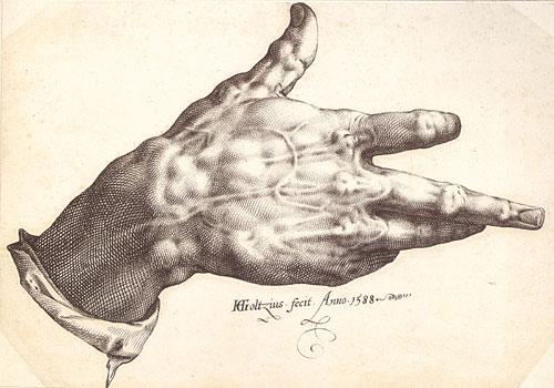 Hendrik Goltzius, Goltzius's Right Hand, 1588, pen and brown ink, 9 x 12 5/8 in. (23 x 32.2 cm). Teylers Museum, Haarlem