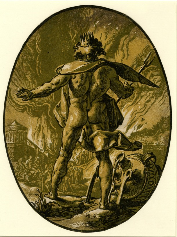 Hendrick Goltzius The Deities, Pluto (c. 1588-90) chiaroscuro woodcut, 345 x 260 mm, Museum number: W,5.41 Bibliography: New Hollstein (Dutch & Flemish) 297.IIa (Hendrick Goltzius); Hirschmann 369; Hollstein 369; Strauss 423; Bartsch III.73.233 To view this print on the British Museum Collection Online click here © The Trustees of the British Museum