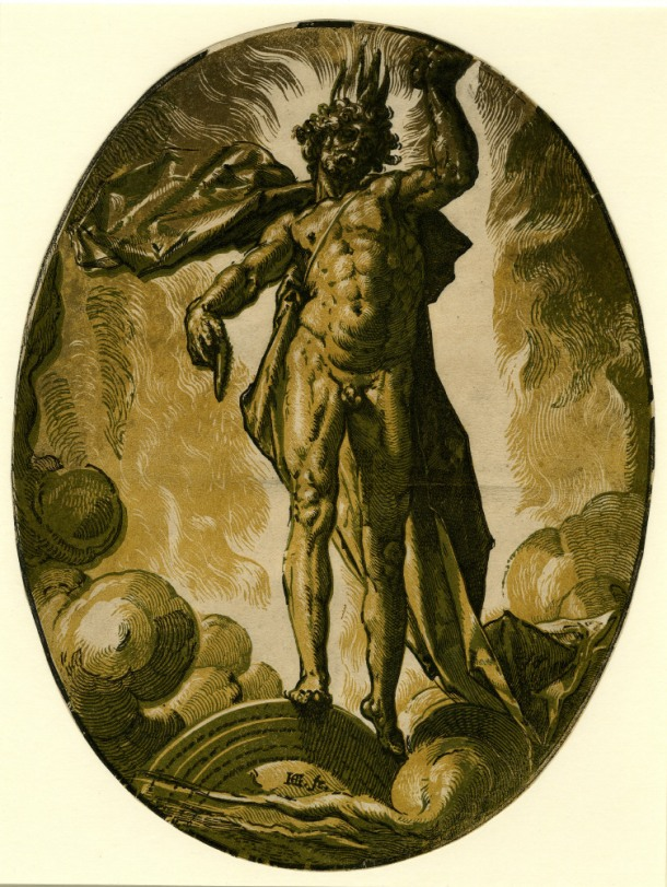 Hendrick Goltzius The Deities, Helios (Day) (c. 1588-90) chiaroscuro woodcut, 350 x 266 mm, Museum number: W,5.38 Bibliography: New Hollstein (Dutch & Flemish) 299b (Hendrick Goltzius); Hirschmann 371; Hollstein 371; Strauss 419; Bartsch III.73.234 To view this print on the British Museum Collection Online click here © The Trustees of the British Museum