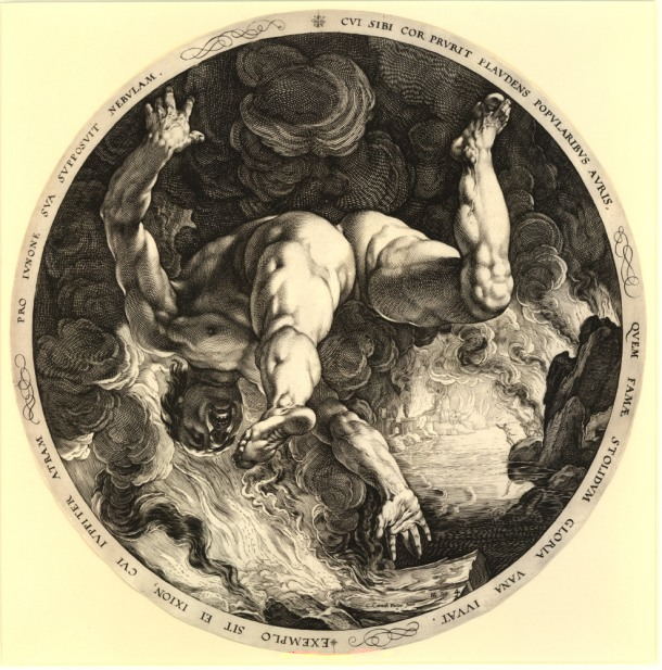 Print made by: Hendrick Goltzius, after: Cornelis Cornelisz. van Haarlem The four disgracers, Ixion, 1588, engraving diameter 330 mm (trimmed) Museum number: 1853,0312.237, Bibliography: Strauss 260 ; Hirschmann 309 ; Hollstein 309 ; New Hollstein (Dutch & Flemish) 328 (Hendrick Goltzius) ; Bartsch III.79.26 To wiew this print on the British Museum Collection Online click here © The Trustees of the British Museum
