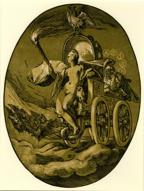 Hendrick Goltzius The Deities, Nox (c. 1588-90) chiaroscuro woodcut, 345 x 261mm, Museum number: W,5.47 Bibliography: New Hollstein (Dutch & Flemish) 200b (Hendrick Goltzius); Hirschmann 372; Hollstein 372; Strauss 420; Bartsch III.73.237 To view this print on the British Museum Collection Online click here © The Trustees of the British Museum