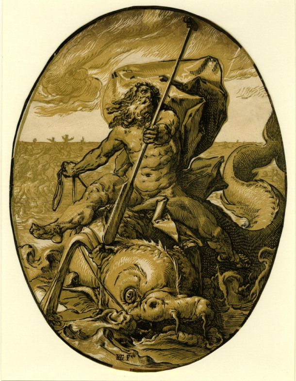 Hendrick Goltzius The Deities, Oceanus (c. 1588-90) chiaroscuro woodcut, 346 x 265mm, Museum number: W,5.43 Bibliography: New Holstein (Dutch & Flemish) 295c (Hendrick Goltzius); Hirschmann 367; Hollstein 367; Strauss 421; Bartsch III.73.232 To view this print on the British Museum Collection Online click here © The Trustees of the British Museum