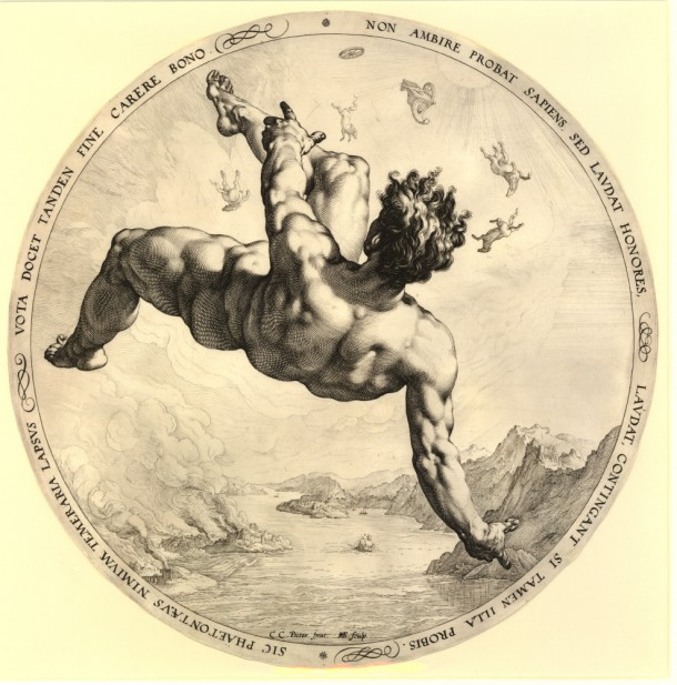 Print made by: Hendrick Goltzius, after: Cornelis Cornelisz. van Haarlem The four disgracers, Phaeton, 1588, engraving, diameter 330 mm (trimmed) Museum number: 1853,0312.236 Bibliography: Strauss 259 ; Hirschmann 308 ; Hollstein 308 ; New Hollstein (Dutch & Flemish) 327.I (Hendrick Goltzius) ; Bartsch III.79.260 To view this print on the British Museum Collection Online click here © The Trustees of the British Museum