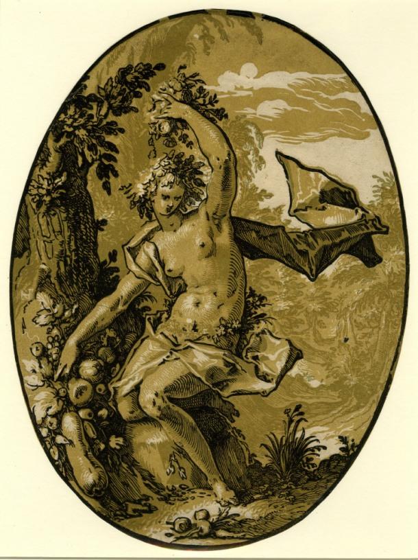 Hendrick Goltzius The Deities, Proserpine (c. 1588-90) chiaroscuro woodcut, 346 x 258mm, Museum number: W,5.46 Bibliography: New Hollstein (Dutch & Flemish) 298c (Hendrick Goltzius); Hirschmann 370; Hollstein 370; Strauss 424; Bartsch III.73.236 To view this print on the British Museum Collection Online click here © The Trustees of the British Museum