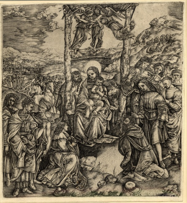 Cristofano Robetta, Adoration of the Magi, After Filippino Lippi, (c. 1510 – 15) engraving, 303 x 280 mm. Museum Number 1842.0806, 33. Bibliography: Hind D.II.10 ; Bartsch XIII.396.6 ; TIB 25.2521.010. To view this print on the British Museum Collection Online click here. © The Trustees of the British Museum