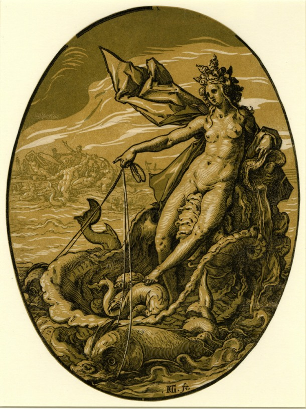 Hendrick Goltzius The Deities, Tethys (c. 1588-90) chiaroscuro woodcut, 346 x 258mm, Museum number: W,5.48 Bibliography: New Hollstein (Dutch & Flemish) 296.IIIa (Hendrick Goltzius); Hirschmann 368; Hollstein 368; Strauss 422 (as Venus Marina); Bartsch III.73.235 To view this print on the British Museum Collection Online click here © The Trustees of the British Museum
