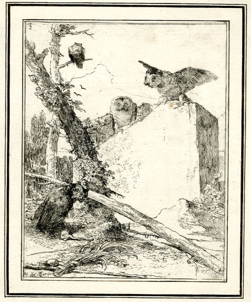Giovanni Battista Tiepolo, Titleplate: with owls perching on a stone slab, Scherzi di Fantasia (1750-1760) etching, 223 x 177cm. Museum Number 1919,1220.14. Click here to view this object on the British Museum Collection Online. © The Trustees of the British Museum
