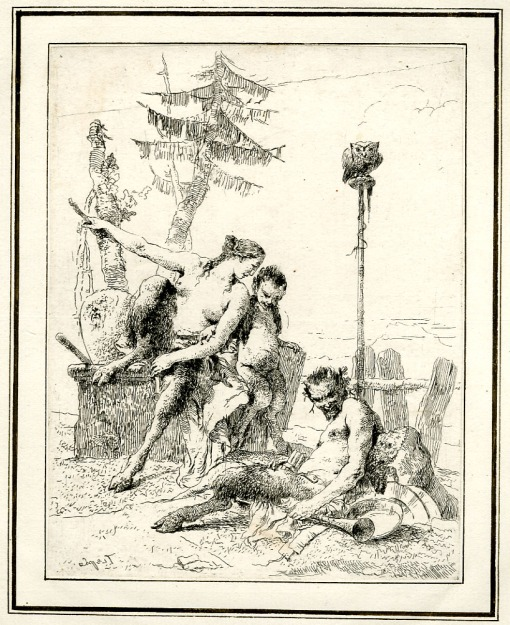 Giovanni Battista Tiepolo, Plate 10: a seated satyr with his wife and son before an owl perched on a pole, Scherzi di Fantasia (1750-1760) etching, 224 x 178mm. Museum Number 1919,1220.25 Click here to view this object on the British Museum Collection Online. ©The Trustees of the British Museum