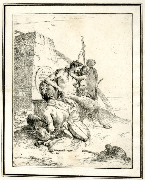 Giovanni Battista Tiepolo, Plate 11: a seated satyr from the back with his family, Scherzi di Fantasia (1750-1760) etching, 224 x 177mm. Museum Number 1919,1220.26 Click here to view this object on the British Museum Collection Online. ©The Trustees of the British Museum