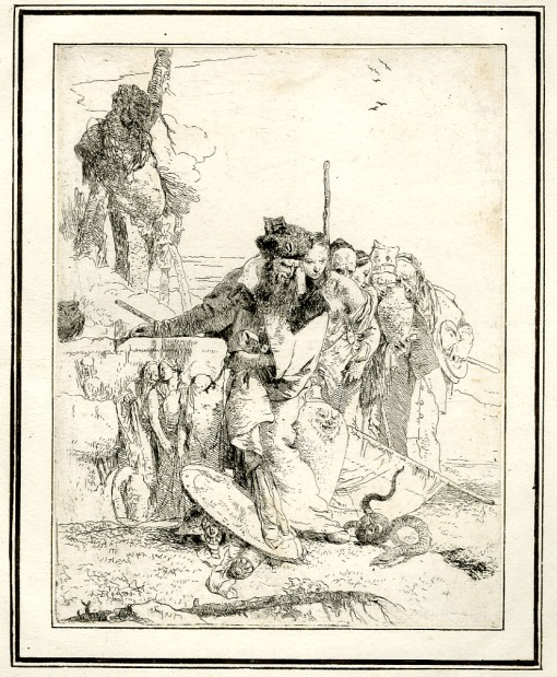Giovanni Battista Tiepolo, Plate 12: Six standing figures looking at a snake, Scherzi di Fantasia (1750-1760) etching, 229 x 178mm. Museum Number 1919,1220.28 Click here to view this object on the British Museum Collection Online. ©The Trustees of the British Museum