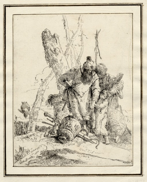 Giovanni Battista Tiepolo, Plate 13: two standing magicians with a child, Scherzi di Fantasia (1750-1760) etching, 229 x 178mm. Museum Number 1919,1220.29 Click here to view this object on the British Museum Collection Online. ©The Trustees of the British Museum